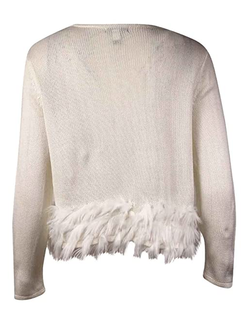 5d9f7fd235 Alfani Women s Cropped Faux Fur Trim Cardigan Sweater at Amazon Women s  Clothing store