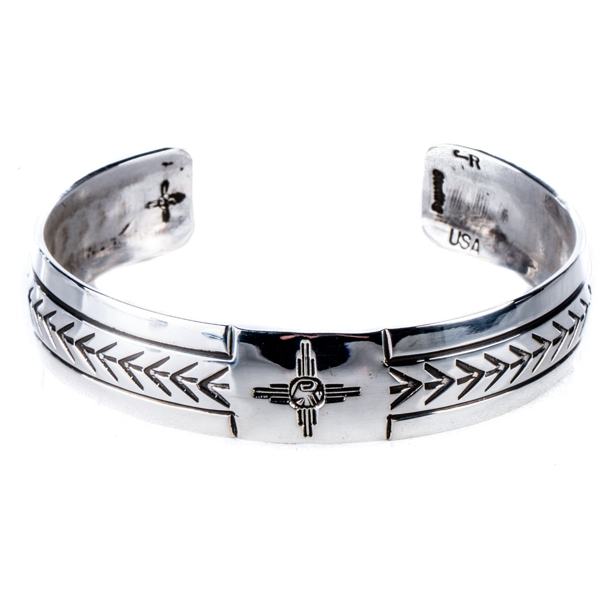 TSKIES Genuine Navajo Sterling Silver .925 Stamped Cuff Bracelet ''Attune'' with Medicine Pouch (Large)
