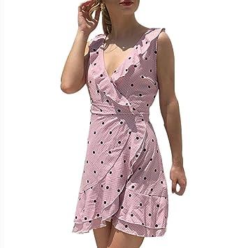 Wawer Vestido de Gasa para Mujer, Verano, con Estampado de Lunares, Maxi,