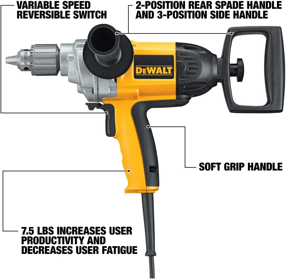 DEWALT Electric Drill, Spade Handle, 1 2-Inch, 9-Amp DW130V