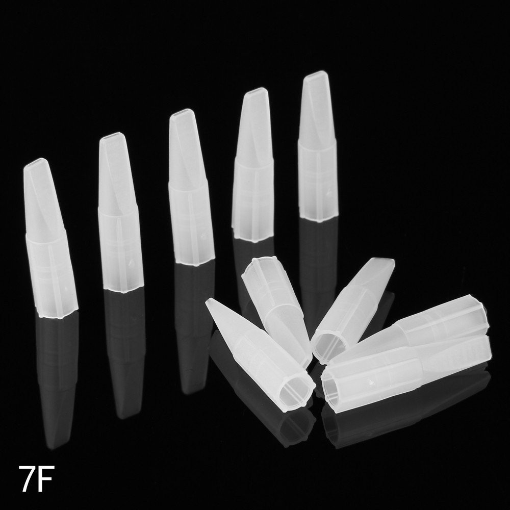 Beauty7 10 PCS Disposable Plastic Mini Clear White 7F Flat Eyebrow Tattoo Needle Tips Permanent Makeup Cosmetic Tattoo Nozzle