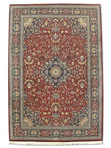 Traditional Persian Handmade Kashan Rug, Wool/Silk (Highlights), Burgundy/Red, 6' 1