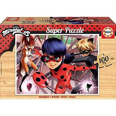 Educa Borrs 100 Legno Miraculous T2 Ladybug Puzzle Colore Unico 17957