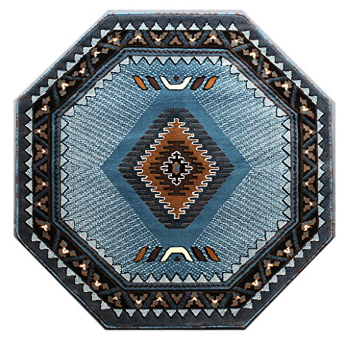 Native American Octagon Area Rug Design Kingdom D 143 Blue Brown (4 Feet X 4 Feet) Octagon (Blue Brown Area And Rug)