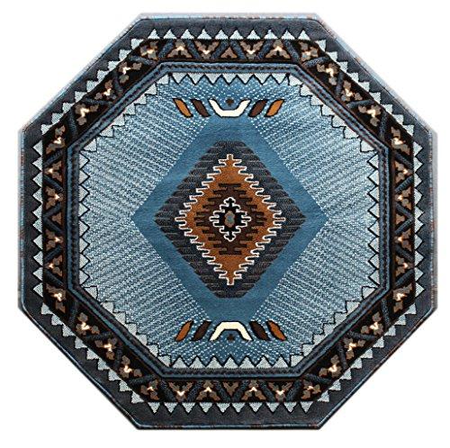 Native American Octagon Area Rug Design Kingdom D 143 Blue Brown (4 Feet X 4 Feet) Octagon (Brown Area Blue And Rug)