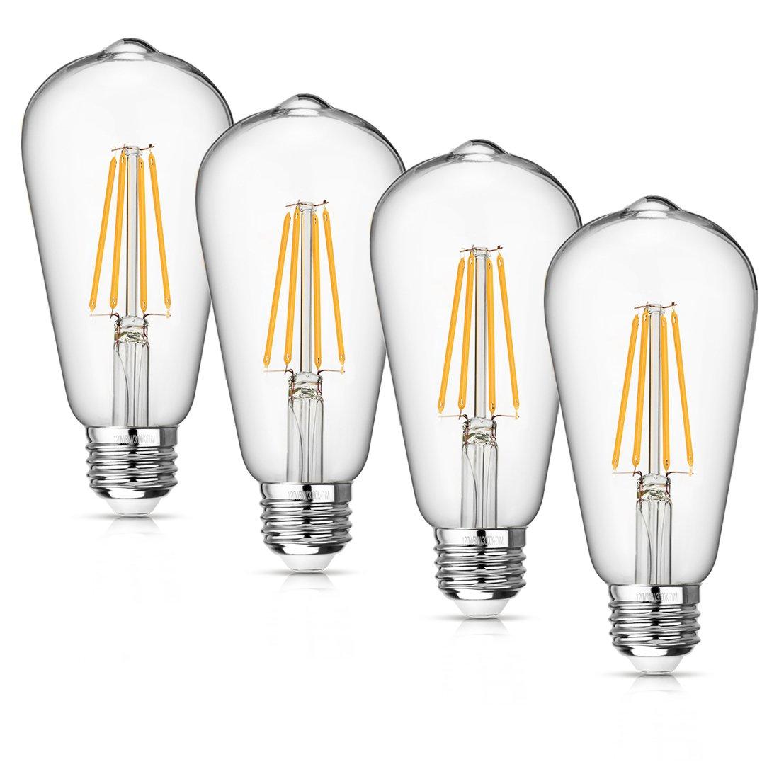 Vintage LED Edison Bulb Dimmable 8W Led Filament Light Bulb ST64 840 Lumen 3000K Soft White 75-100 Watt Incandescent Equivalent E26 Medium Base Decorative Antique Lamp for Home Bathroom Bedroom 4 Pack