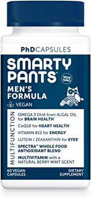 SmartyPants Daily Multivitamin for Men: Vitamin D, C, D3, E, B12 for Energy, COQ10, Omega 3 DHA, Iodine, Lutein, Folate, Vega