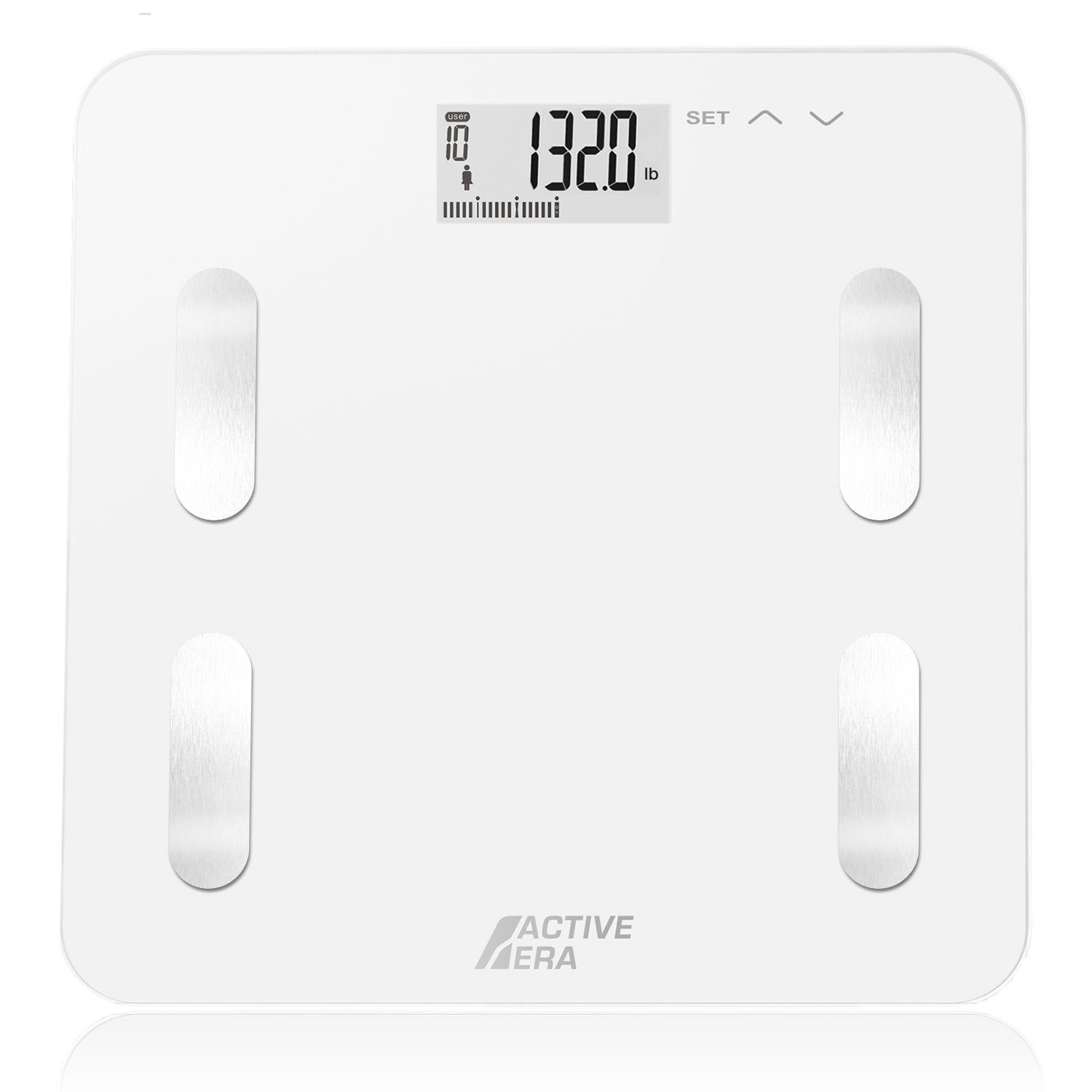 Active Era Ultra Slim Body Fat Bathroom Scale with BF%, BMI, Bone Mass, Water% and Weight Analysis – Ultra Strong Glass Design with LCD Display, 10 User Profiles and Auto On/Off - Black The Body Source 4332443303