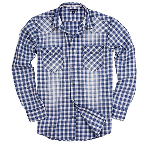 Slim Western Pearl Snap Shirt (UB Apparel & Gear Men's Long Sleeve Plaid Pearl Snap Western Shirt (Blue/White, Modern Fit: XX-Large))