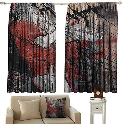 White Trumpet Glass Shade - Music Shading Insulated Curtain Trumpet Musician on Grunge Cityscape Background in The Night Boho Art Print Soundproof Shade W52 x L36 Inch Red Black White