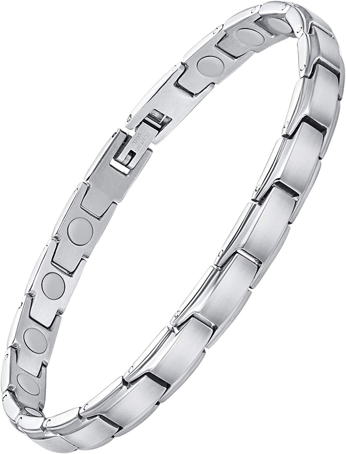 Feraco Magnetic Bracelet for Women Arthritis Pain Relief Sleek Stainless Steel 3500 Gauss Strong Magnet Therapy Bracelets