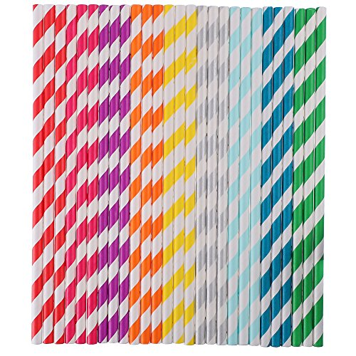 Antner 225Pcs Paper Straws Biodegradable Rainbow Stripe Drinking Straw for Juices Shakes Smoothies and Party Decoration ()