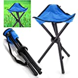 Camping Folding Stool - Portable 3 Legs Chair Tripod Seat For Outdoor Hiking Fishing Picnic Travel Beach BBQ Garden Lawn with Strap Oxford Cloth Small Size