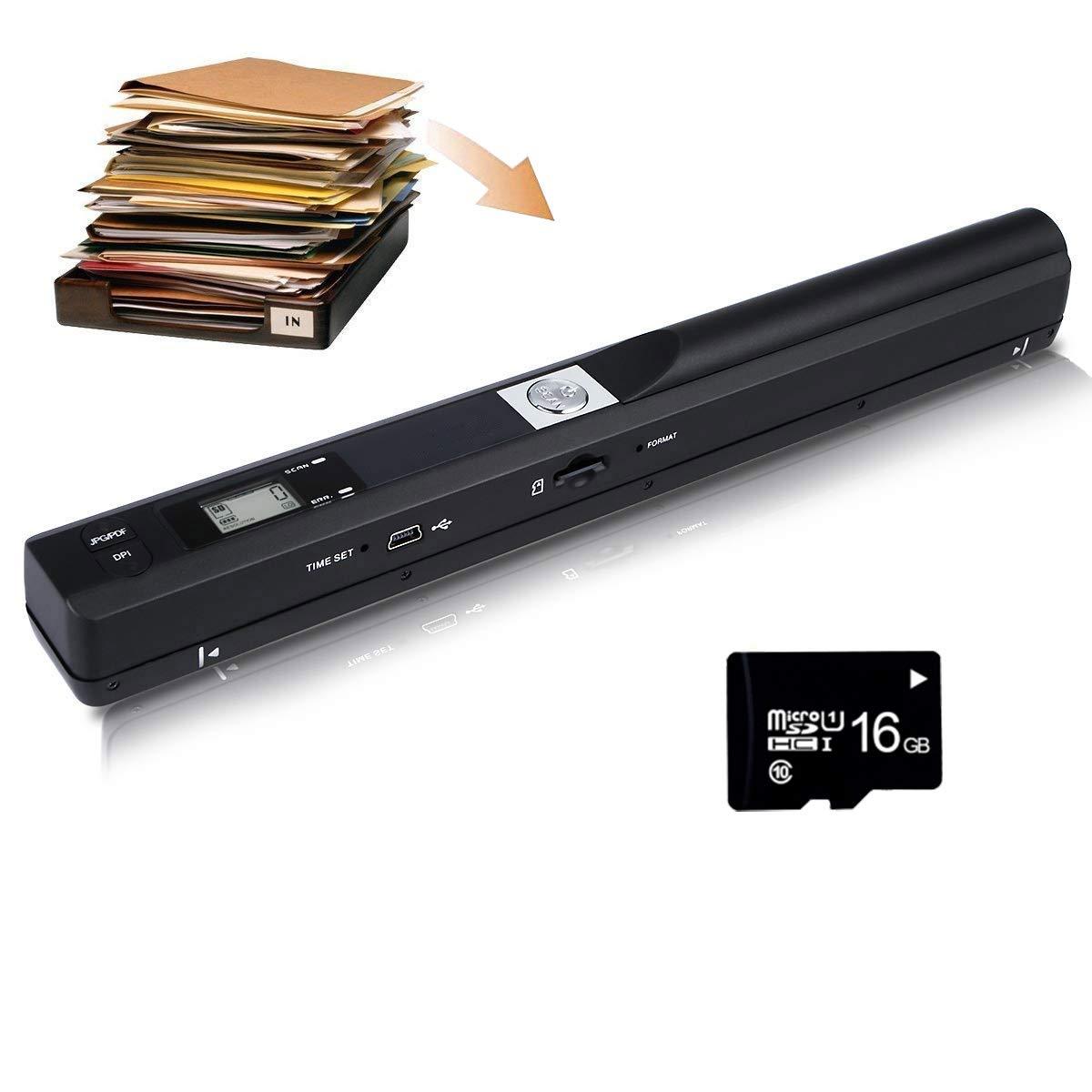 Farbfotobetrachter Tragbarer Bildscanner mit Einer Aufl/ösung von 900 DPI f/ür Dokumente JPG oder PDF Format EJOYDUTY Micro SD Card Handscanner Enth/ält eine 16G-Speicherkarte
