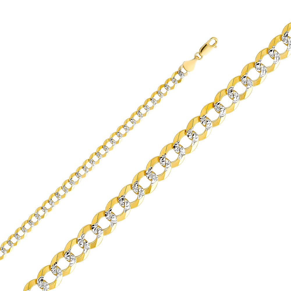 Wellingsale 14k Two Tone Yellow and White Gold SOLID 5.7mm Polished Cuban Concaved Curb White Pave Diamond Cut Chain Necklace with Lobster Claw Clasp - 22''