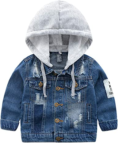 LAUSONS Kids Boys Ripped Denim Jacket with Detachable Hood