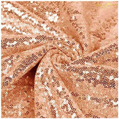 15 Feet Sequin Fabric by The 5 Yards Rose Gold Sequin Fabric for Sewing Costumes Sequin Knit Fabric Sequin Table Cloth Table Linen ()