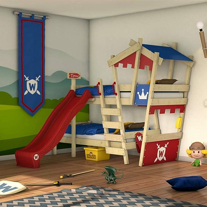 WICKEY Litera CrAzY Castle Cama infantil doble 90x200 Cama alta con tobogán, escalera, techo y somier, rojo-azul + tobogán rojo: Amazon.es: Bricolaje y herramientas