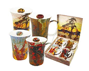 Amazon.com | 4 Tom Thomson Coffee Or Tea Mugs In A Matching Gift ...