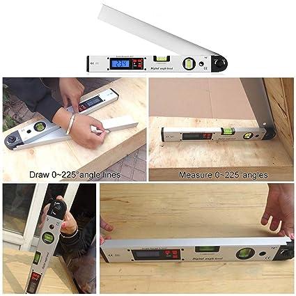 360° Digital Inclinometer Aluminum Angle Finder Magnetic Tool w// Spirit Level