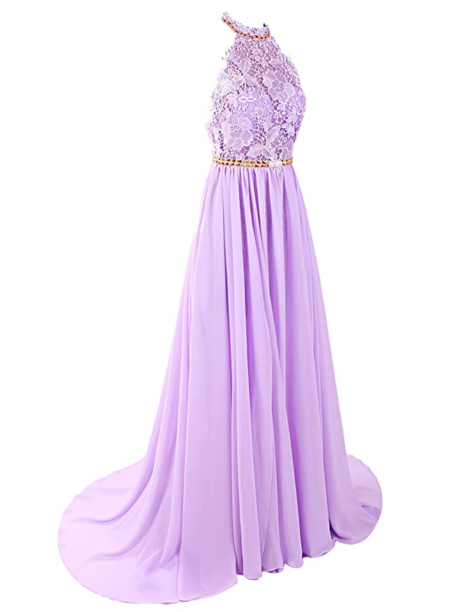 Dresstells Womens Long Halterneck Chiffon Prom Dress A-line Evening Dress Party Dress with Embroidery: Amazon.co.uk: Clothing