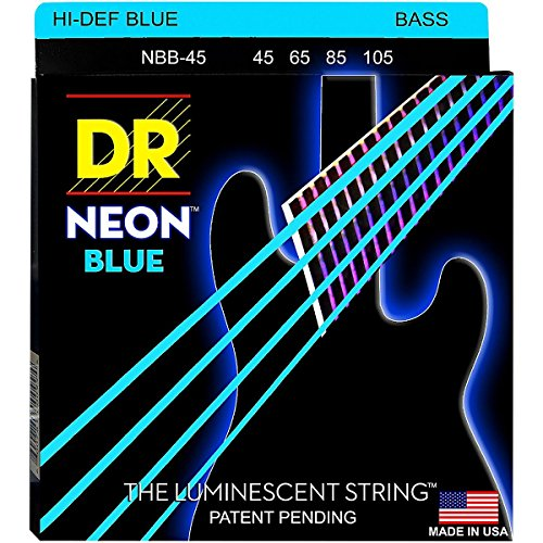 DR Strings Hi-Def NEON Blue Coated Medium 4-String  Bass Gui