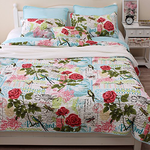 Brandream Queen Size Romantic Birds Butterfly Bedding Set Girls Quilt Set 3PCS