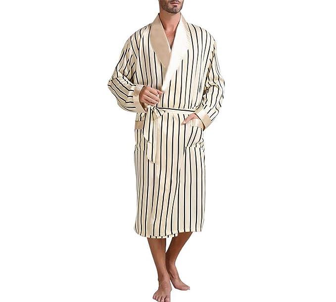 Pijamas de satén de Seda para Hombre Pijamas Pijamas Ropa de Dormir Batas Bata de Dormir Ropa de salón U.S.S M L XL 2XL 3XL Plus Striped_ Regalos: ...