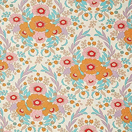 Fabulous Fabrics Tela de algodón Bird Pond Anemone – Naranja ...