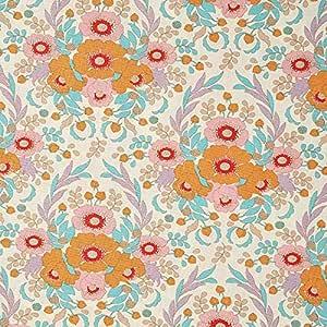 Fabulous Fabrics Tela de algodón Bird Pond Anemone – Naranja/Turquesa — Mercancia al Metro a Partir de 0,5m — para Coser de Almazuela (Patchwork), Accesorios para el ...