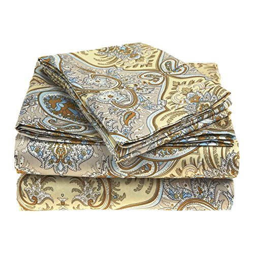 Superior Luxury Paisley Bedding, 100% Brushed Microfiber 4-Piece Sheet Set, Silky Soft, Light Weight, and Wrinkle Resistant - Queen Sheets, (Microfiber Polyester Sheet Set)