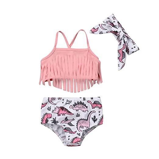d573b9ce0a Toddler Kids Baby Girl Swimwear Cute Dinosaur Print Tassel Top Bikini Set  Summer Swimsuit Beachwear with Headband