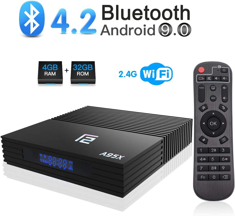Android 9.0 TV Box, A95X F2 Android Box 4GB RAM 32GB ROM Amlogic S905X2 Quad-Core BT 4.2 WiFi 2.4G Soporte 4K 3D USB 3.0 HDMI Smart TV Box: Amazon.es: Electrónica