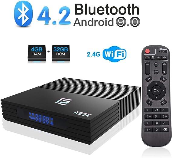 Android 9.0 TV Box, A95X F2 Android Box 4GB RAM 32GB ROM Amlogic S905X2 Quad-Core BT 4.2 WiFi 2.4G Soporte 4K 3D USB 3.0 HDMI Smart TV Box: Amazon.es: Electrónica