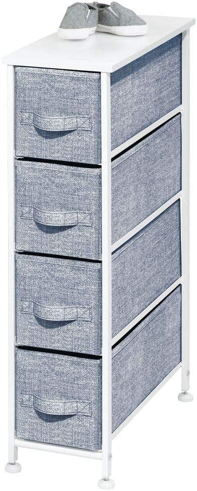 Sturdy Steel Frame mDesign Narrow Vertical Dresser Drawers Navy Blue Wood Top Child//Kids Room or Nursery 4 Easy Pull Fabric Bins Organizer Unit for Bedroom