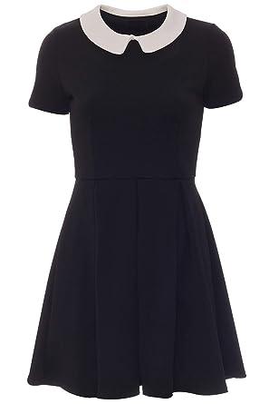 Futuralondon Womens Short Sleeve Black Pleated Skater Block Shift 888bdb309