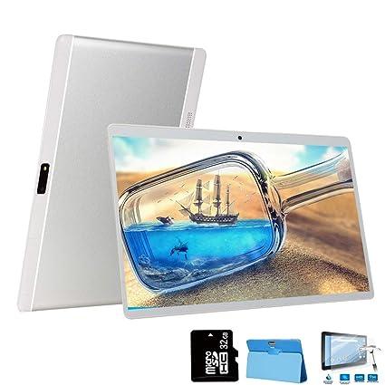 4G Tablets 10 Pulgadas 64GB, 3GB RAM Android 8.1 8MP Cámara Dual SIM/WiFi/Google Play/Office/Netflix/GPS/OTG/Bluetooth Tablet PC Buenas Voukou(Plata)