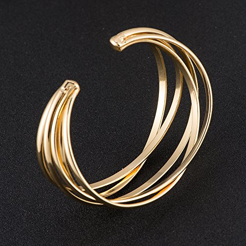 BEICHUANG Multi-layer Ancient Bronze Wire Cross Hollow Out Retro Ethnic Puck Adjustable Bangle Charm Bracelet (Gold1) by BEICHUANG (Image #3)