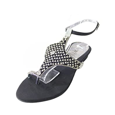 bcbcb03f1e7059 W W Women Ladies Evening Slip On Comfort Evening Lightweight Flat Sandal  Wedding Diamante Shoes Size(