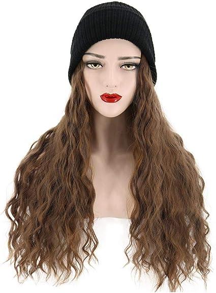 awhao Cappelli da parrucca alla moda, cappello in lana con lunghi capelli  ondulati, cappello da donna caldo in maglia invernale da donna con  cappuccio sintetico attractive: Amazon.it: Bellezza