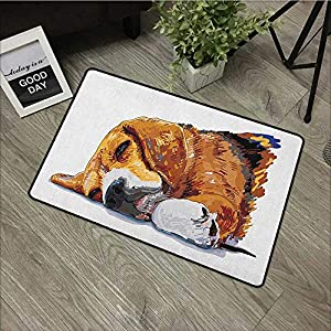 Clear printed pattern door mat W16 x L24 INCH Beagle,Dog Sleeping Canine Friendly Animal Companion Cute Puppy Love Illustration, Cinnamon Brown White Easy to clean, easy to fold,Non-slip Door Mat Carp