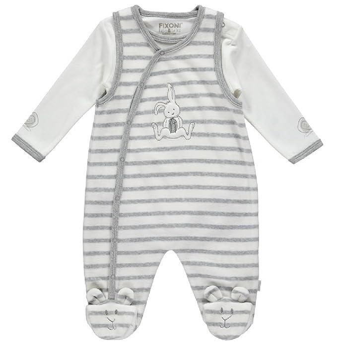 fixoni 32096 - Baby Nicky Pelele Set con Body Conejo Diseño Blanco/Gris Talla 50 - 68 gris/blanco 56 cm : Amazon.es: Ropa y accesorios