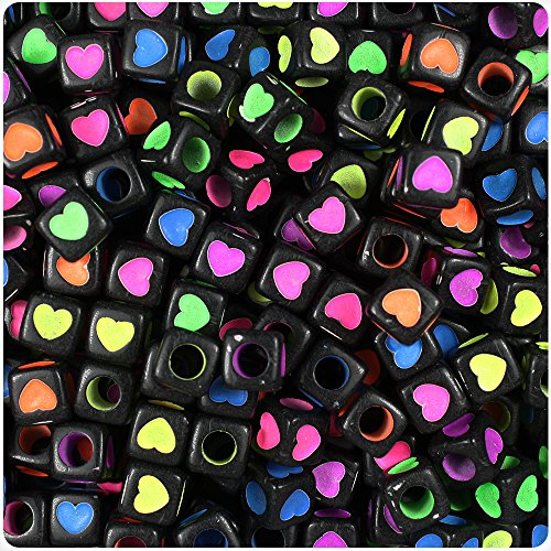 (BEADTIN Black Opaque w/Colored Hearts 7mm Cube Pony Beads (100pc))