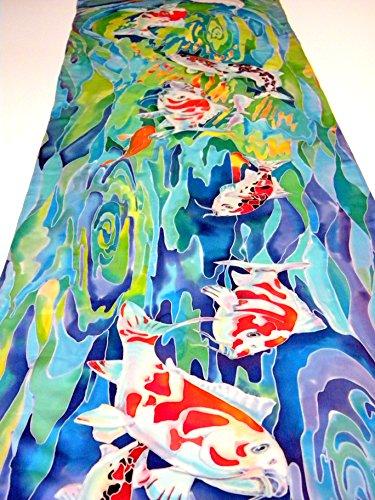 (Japanese koi painting Original Women gift Handpainted silk scarf )