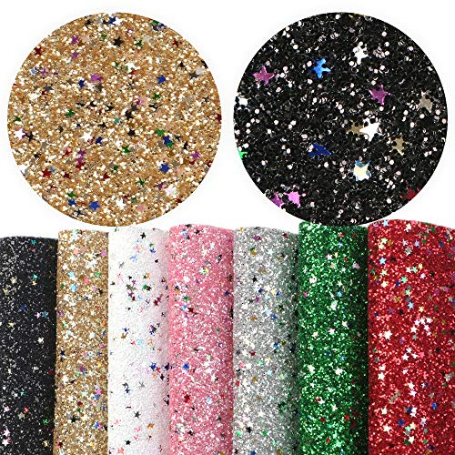David Angie Fine Glitter Sequin Faux Leather Sheet with Star Printed Synthetic Leather Fabric 7 PCS 8