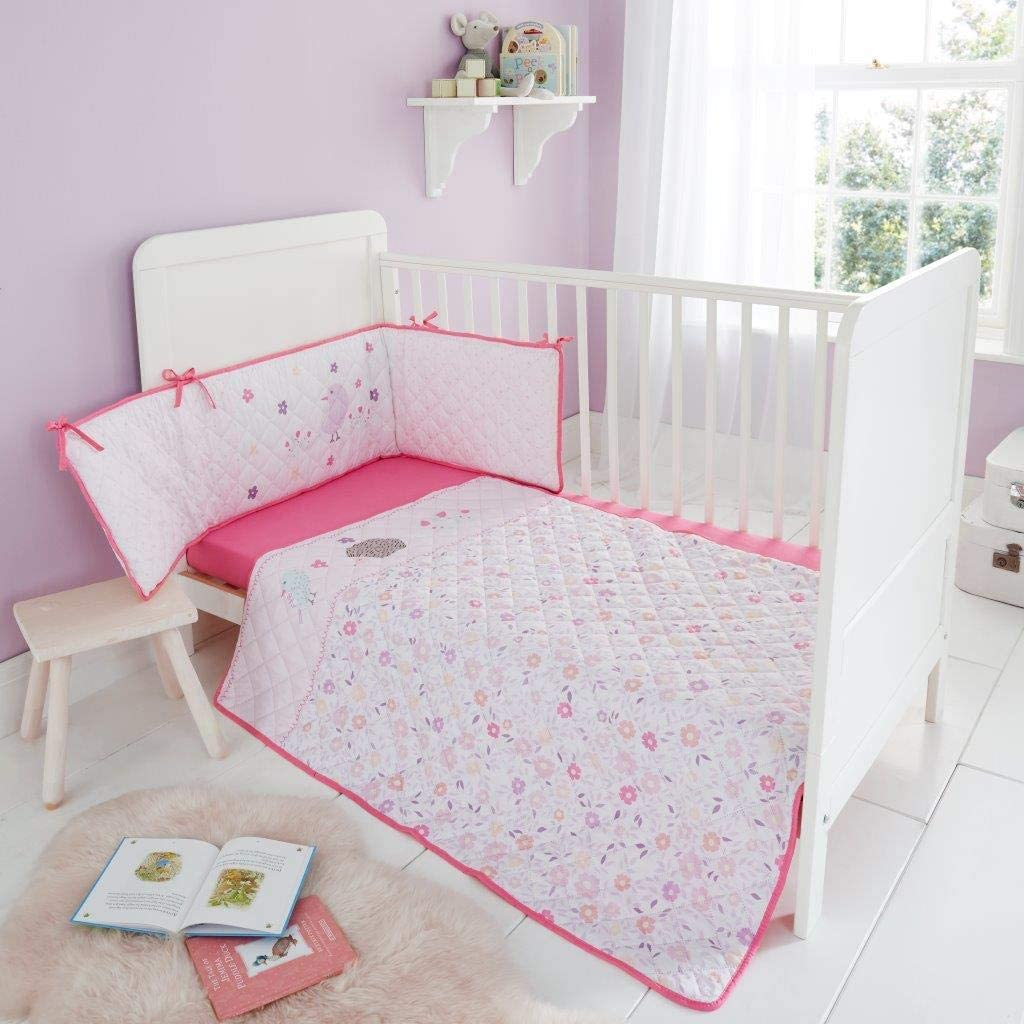 SELECT-ED/® Luxury Design 3Pcs Baby Bumper Set Nursery Bale Set Bedding Quilt Bumper COT Sheet Set Bunny Moon