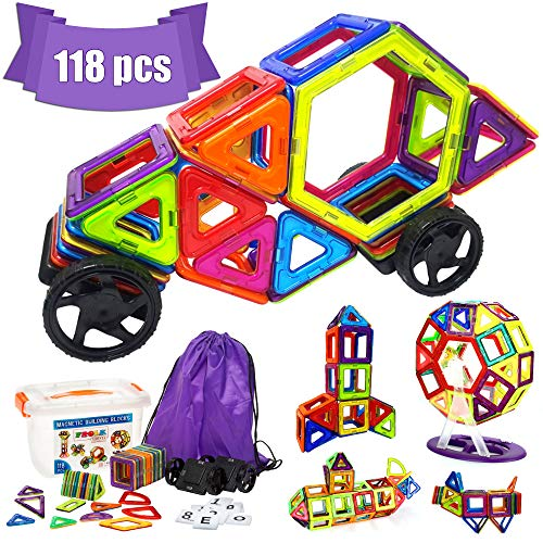 Frolk Magnetic Building Blocks Set 118 Pieces - Tiles Set for 3D Construction for Kids Age 3+. Educational Toy for Girls and Boys. Hours of Fun! Comes with Plastic Storage Box and Premium Backpack. by Frolk