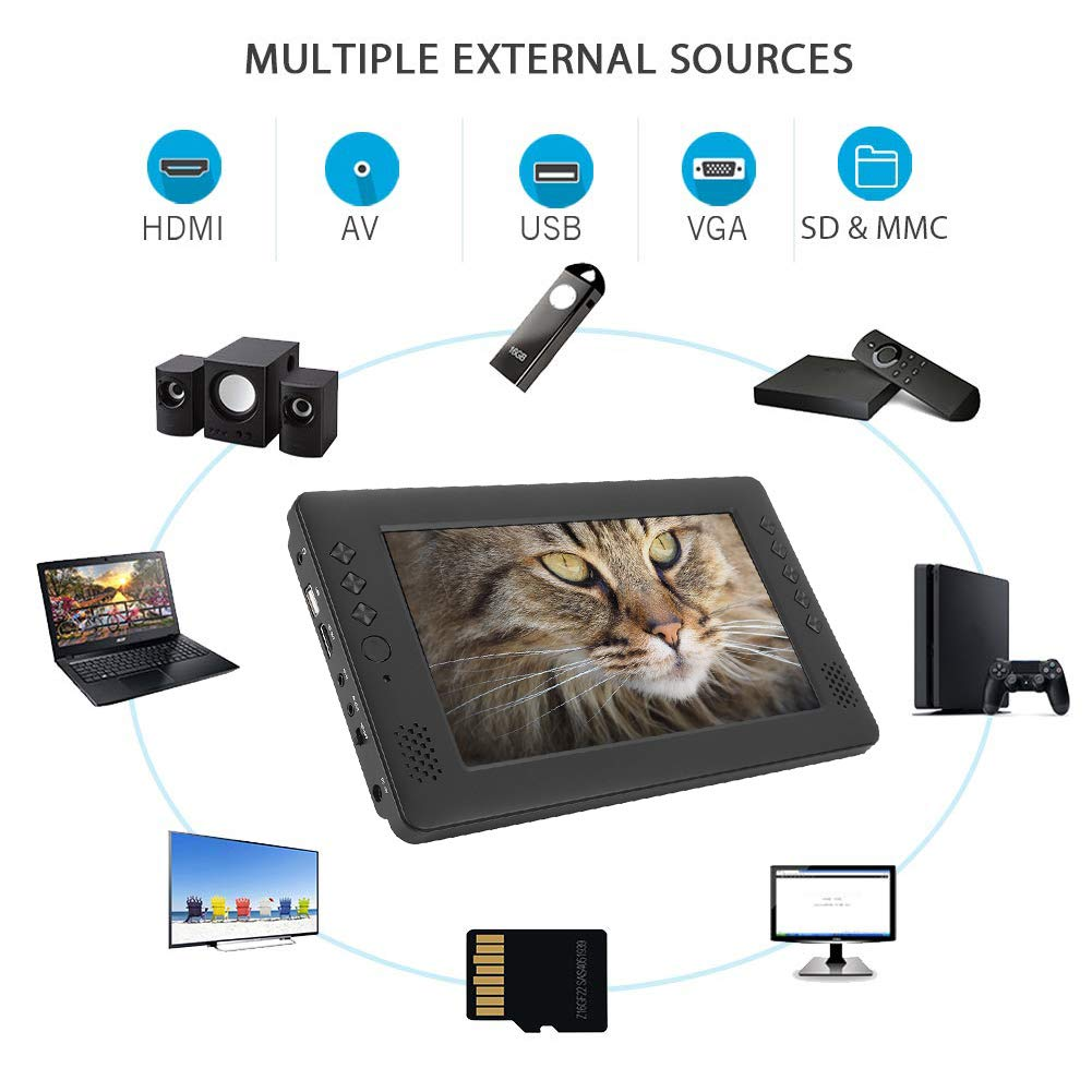 Supports 1080P//USB//HDMI//AV WiFi TV Recorder with Antenna Garsent Portable TV Analogue TV Remote Control 9 inch 16: 9 DVB-T//T2 HD Digital TV