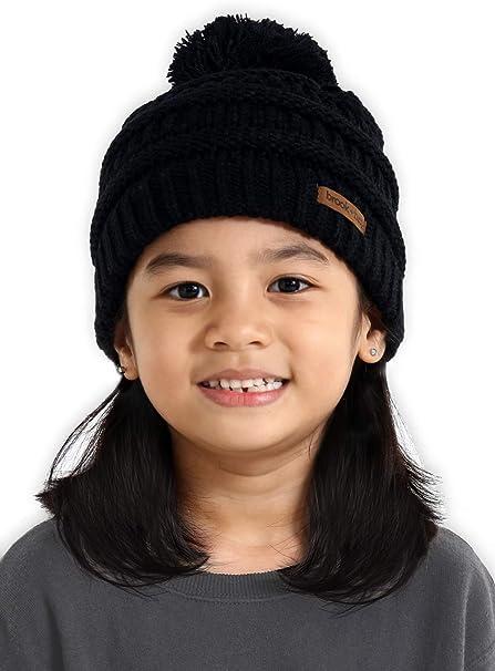 866f6a7cba3 Amazon.com  Brook + Bay Kids Pom Pom Beanie - Fits Girls