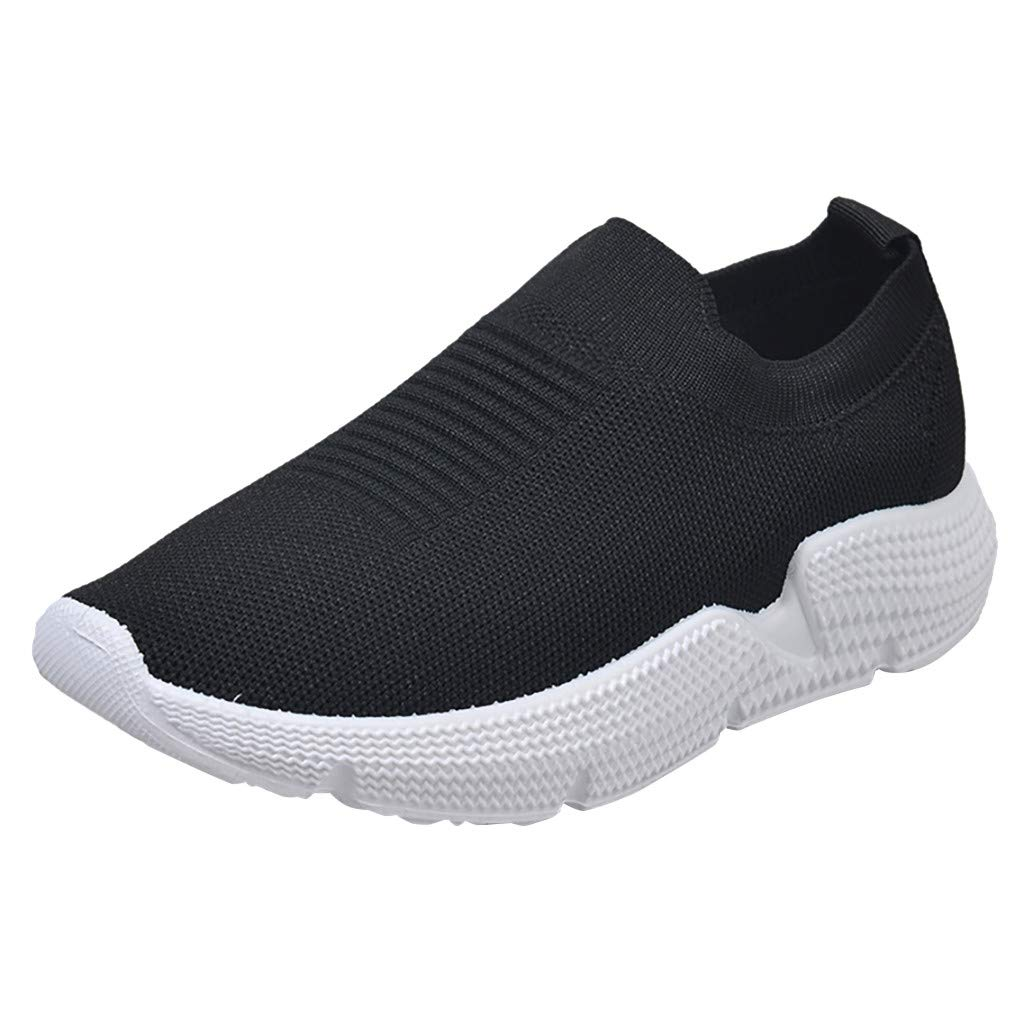 Dermanony Women's Slip-on Sneaker Leisure Large Size Mesh Breathable Outdoor Fitness Running Sport Sneakers Shoes Black by Dermanony _Shoes
